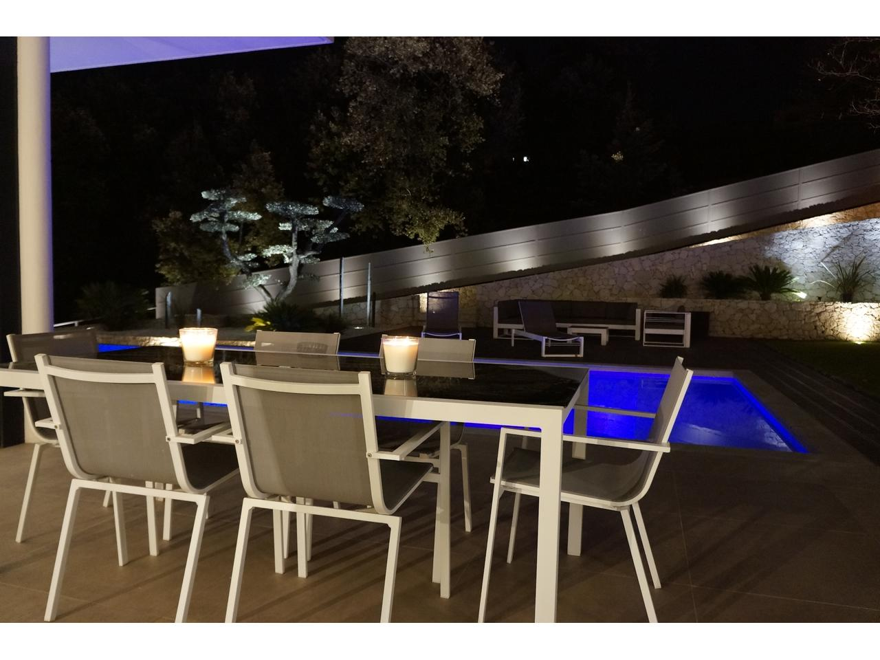 Outdoor dining at night